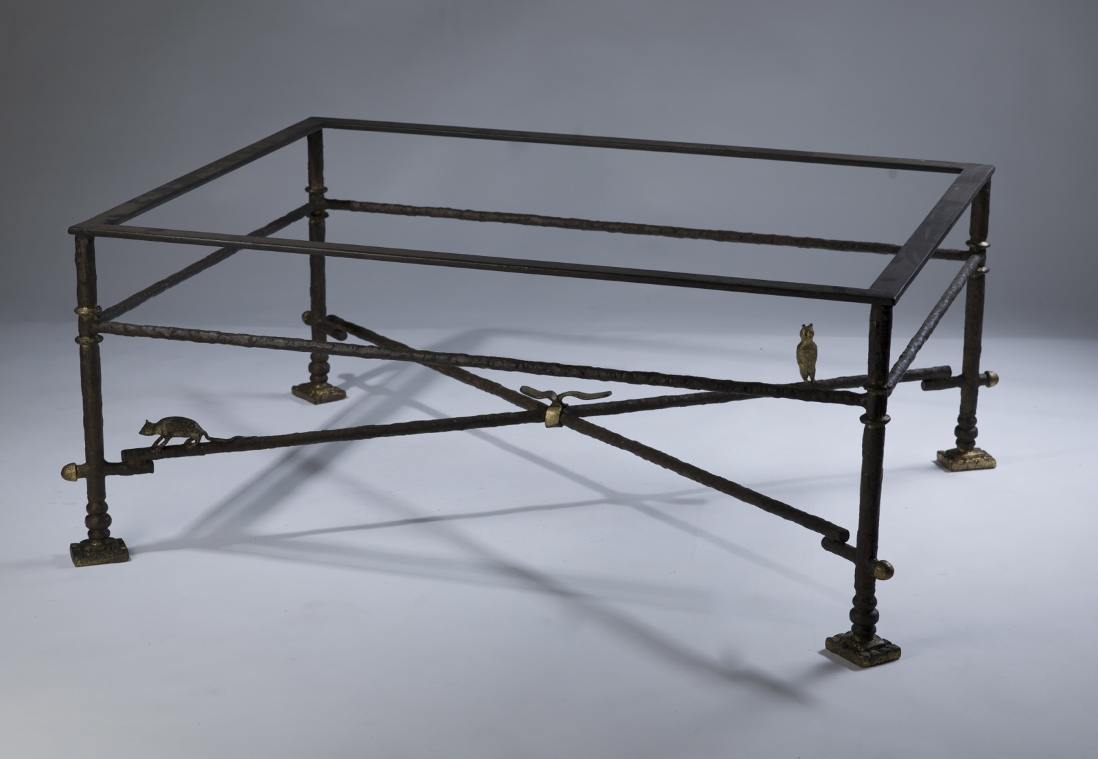 Wrought Iron Coffee Table In Brown Bronze Distressed Gold Highlights With Glass Top T3151