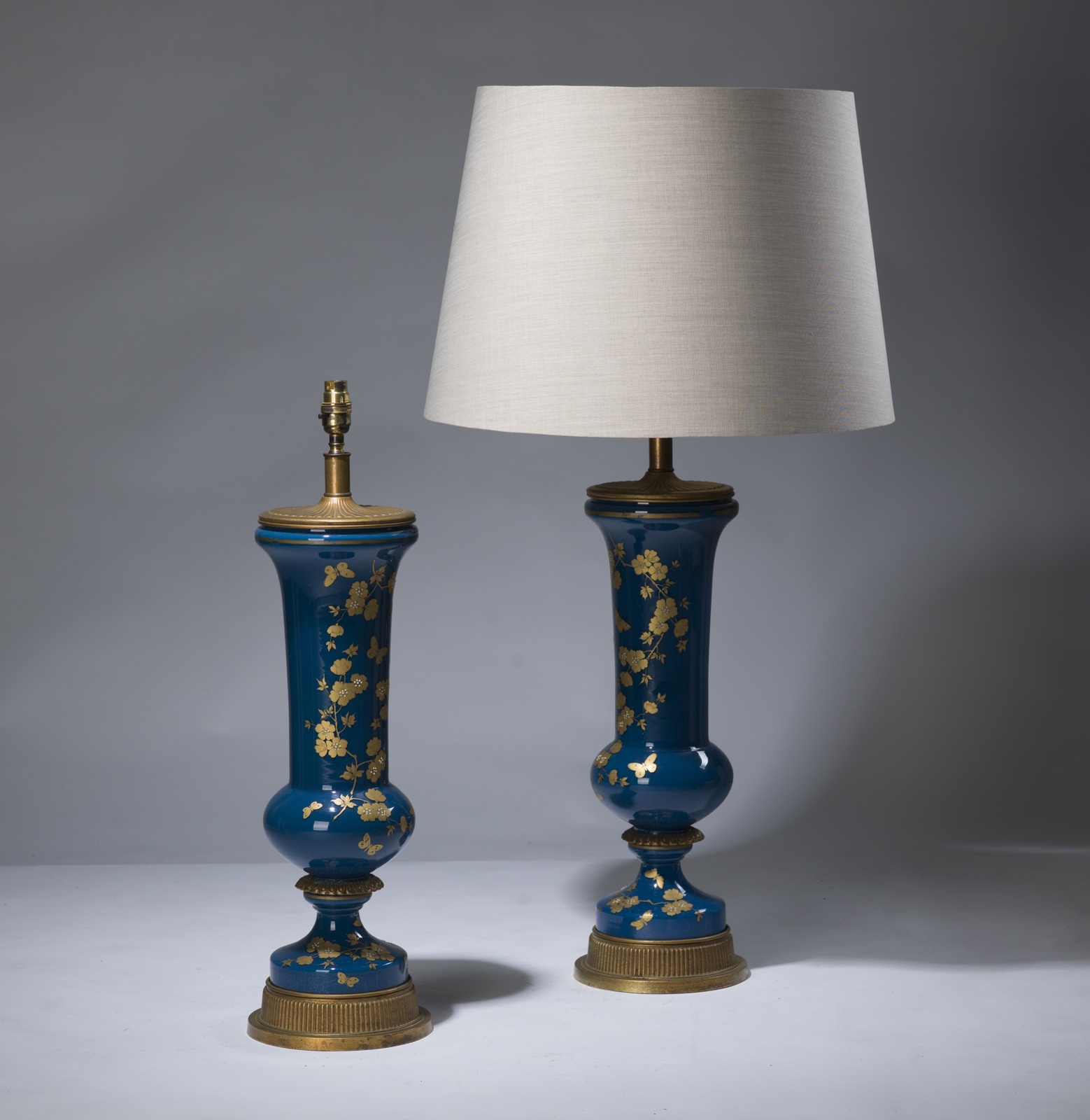 Pair Of Large Blue Gold Antique Glass Lamps