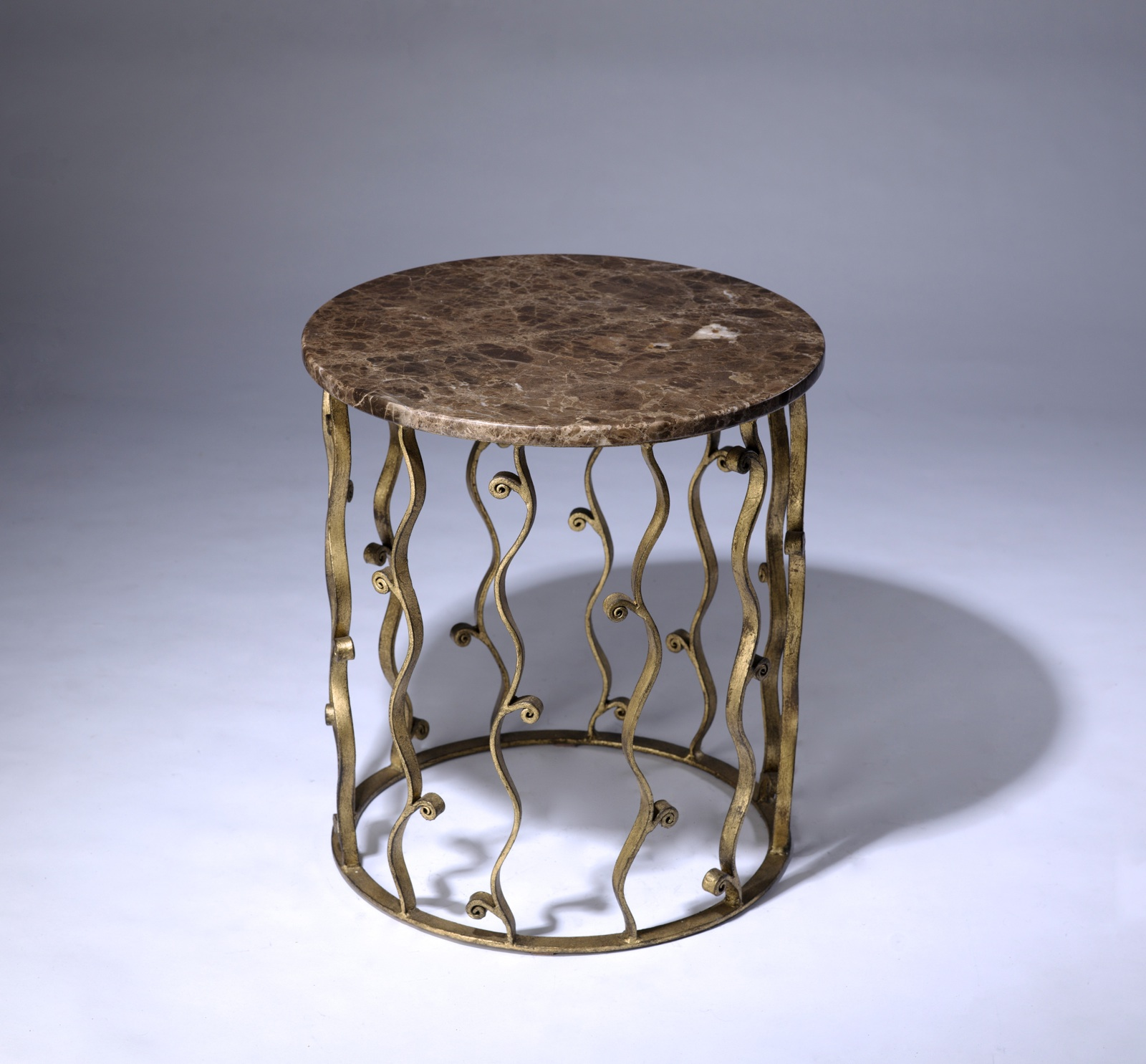 Round Wrought Iron U0027italianu0027 Side Table With Marble Top In Distressed Gold  Leaf Finish