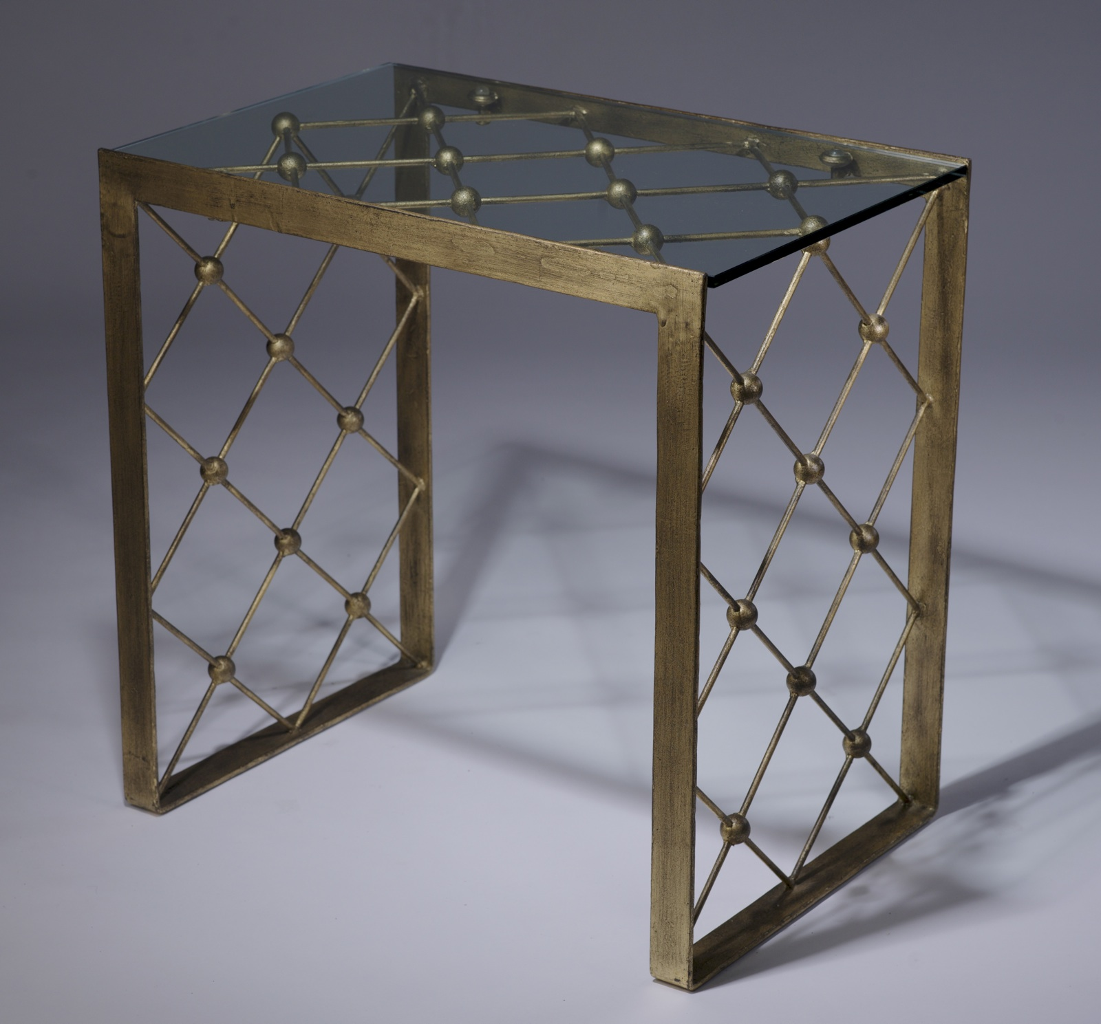 Wrought iron net side table in distressed gold leaf finish for Wrought iron and glass side tables