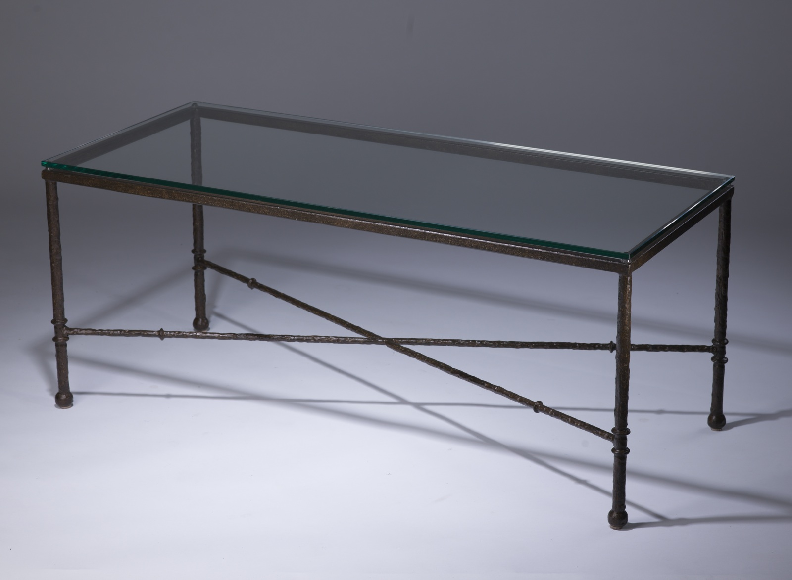 Wrought Iron 39 Simple 39 Coffee Table In Brown Bronze Finish With Glass Top T3416 Tyson London