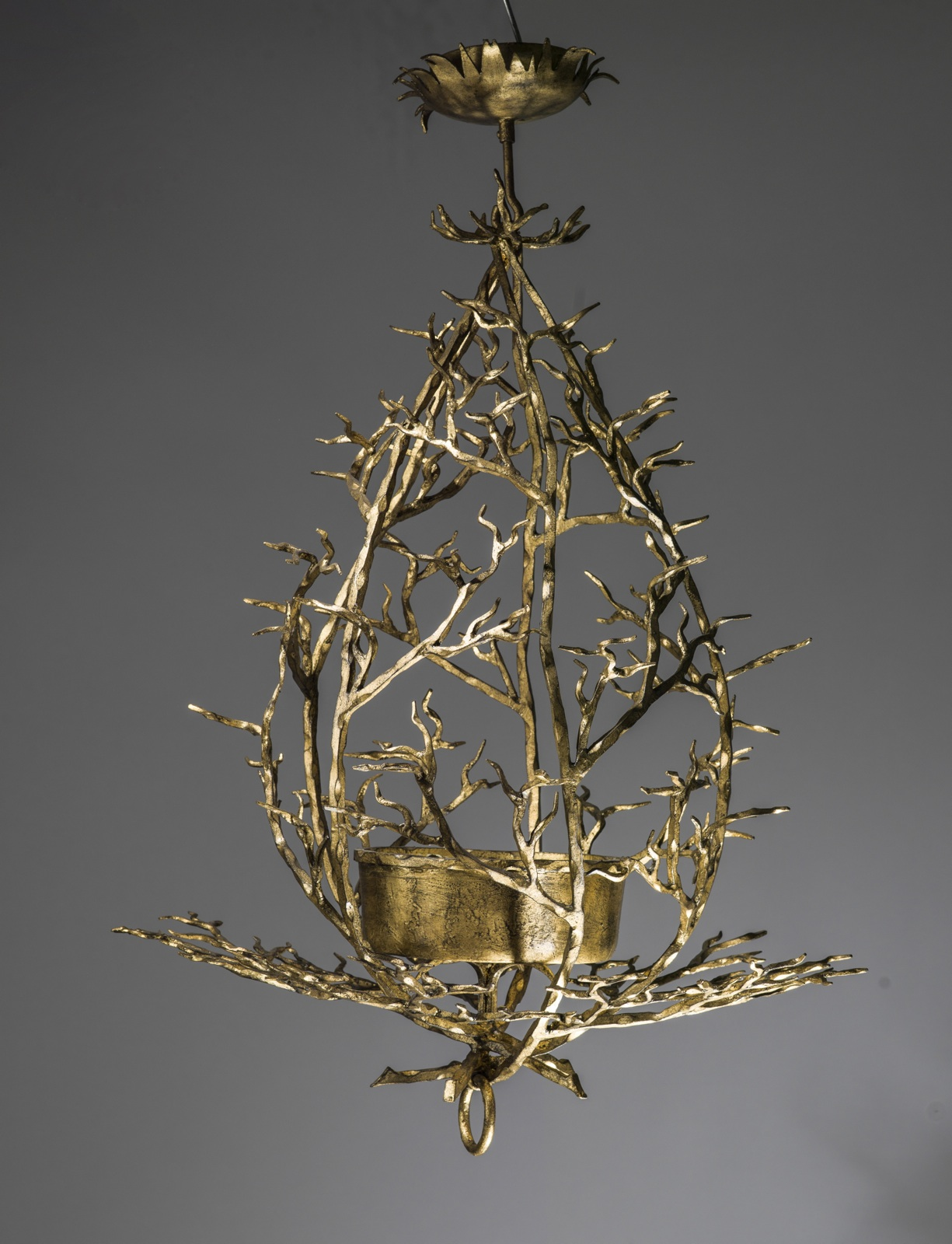 Small wrought iron twig chandelier in warm gold leaf finish