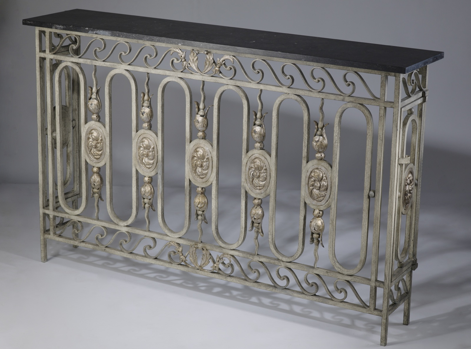 Antique wrought iron table - Antique Wrought Iron French Balcony In Warm Grey Gold Paint Finish With Dark Marble Top