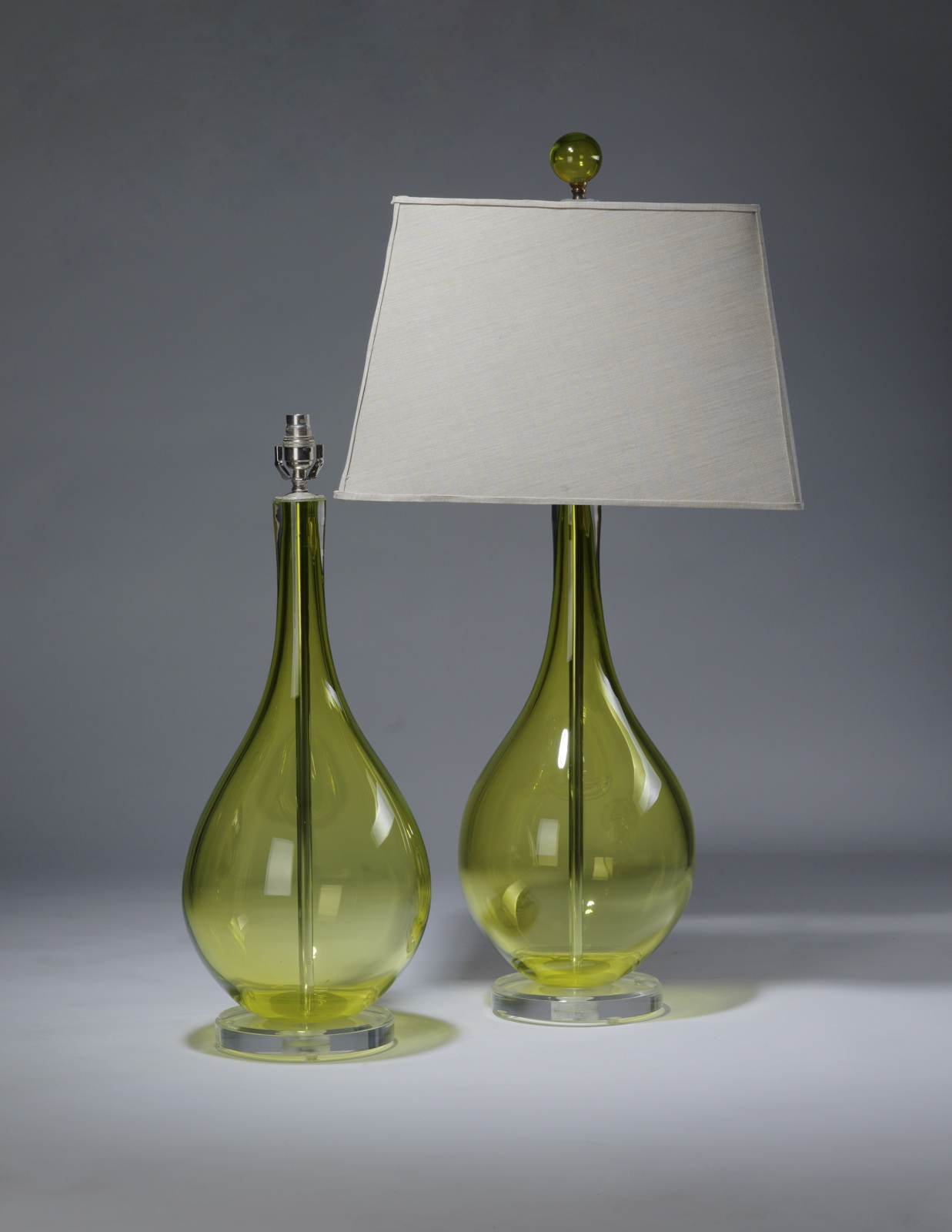 Pair Of Large Lime Green Teardrop Shaped Glass Lamps On Perspex Bases With  Matching Finials