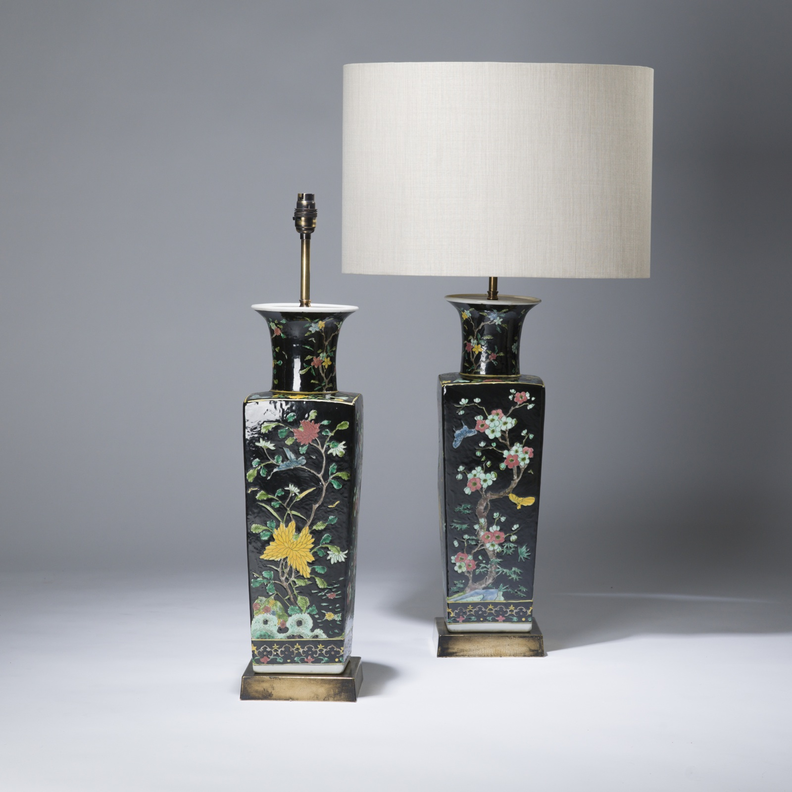 Pair of large black chinese ceramic lamps on distressed brass pair of large black chinese ceramic lamps on distressed brass bases reviewsmspy