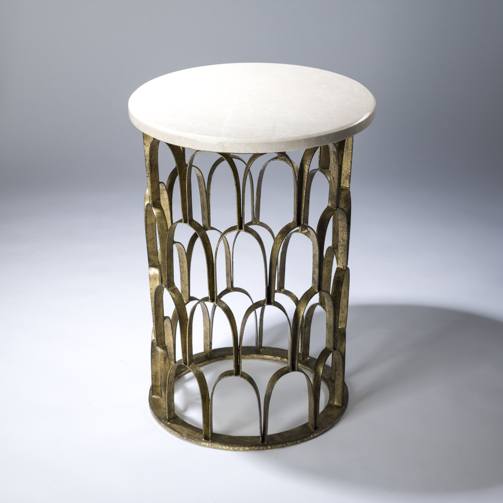 Lovely Round Fish Scale Side Table In Distressed Gold Leaf Finish And Marble Top  (T3635)