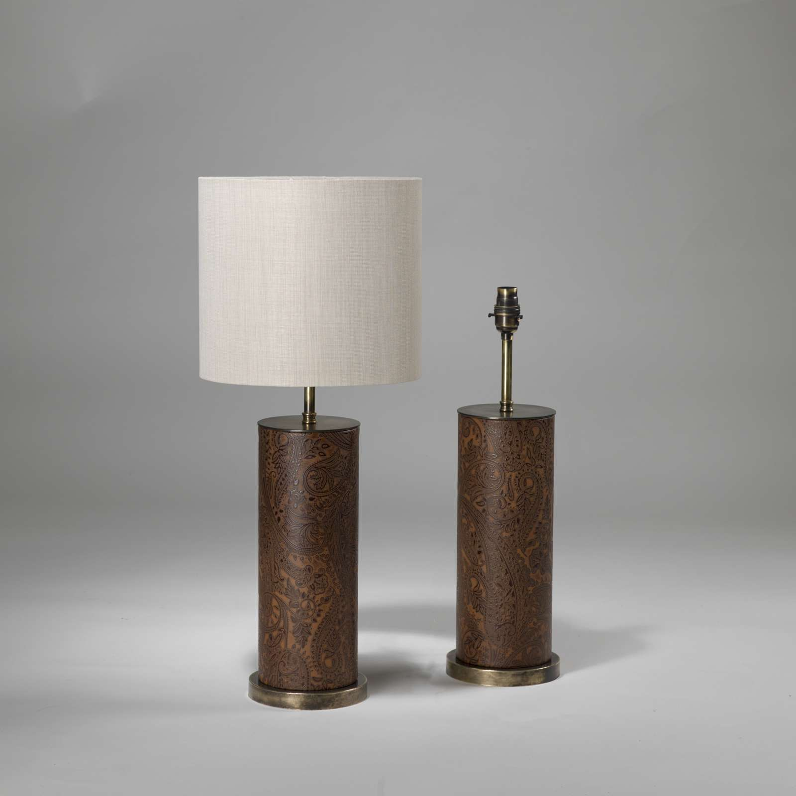 Products table lamps tysonlondon decorative lighting and pair of small brown leather paisley lamps on brass bases t3883 geotapseo Image collections