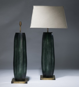 pair of large green cut glass lamps on distressed brass bases (T3032)