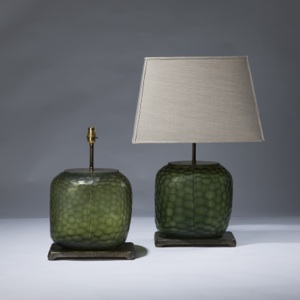 pair of medium green cut glass lamps on distressed brass bases (T3038)