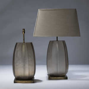 pair of large brown cut glass lamps on distressed brass bases (T3043)