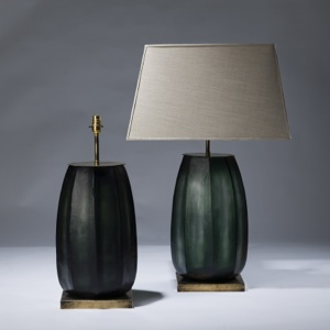 pair of large green cut glass lamps on distressed brass bases (T3044)