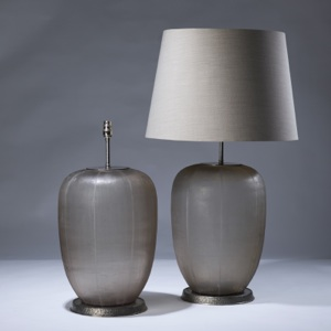 pair of large brown cut glass lamps on distressed silver plate bases (T3046)