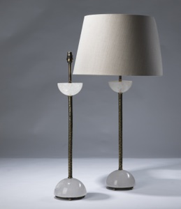 pair of large clear rock crystal 'clifton' lamps on distressed brass bases (T3047)