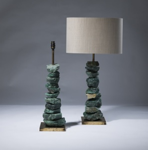 pair of medium green serpentine 'chunk' lamps on distressed brass bases (T3067)