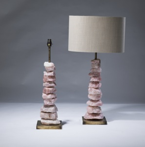 pair of medium pink quartz 'chunk' lamps on distressed brass bases (T3068)