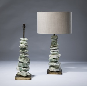 pair of medium green jade 'chunk' lamps on distressed brass bases (T3069)