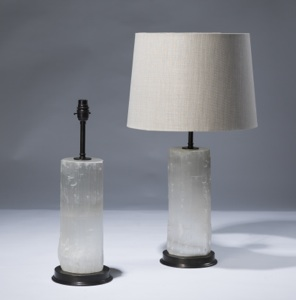 pair of medium clear selenite lamps on bronze bases (T3070)