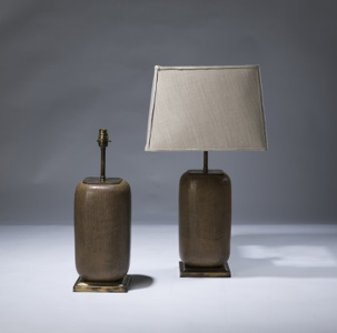 pair of medium brown rattan ceramic lamps on distressed brass bases (T3078)