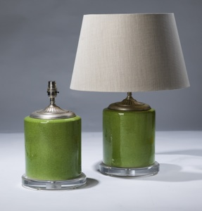 pair of small green ceramic lamps on perspex bases (T3084)