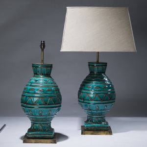 pair of large blue ceramic lamps on distressed brass bases (T3091)