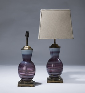 pair of small purple stripe glass lamps on distressed brass bases (T3093)