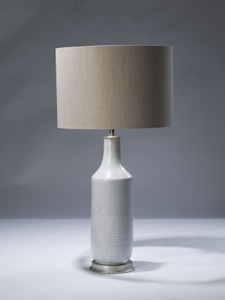 single medium white shagreen ceramic lamp on distressed silver leaf base (T3095)