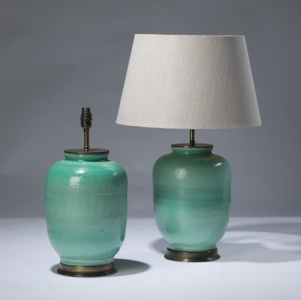 pair of small green ceramic lamps on distressed brass bases (T3119)
