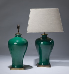 pair of medium green ceramic lamps on distressed brass bases (T3120)