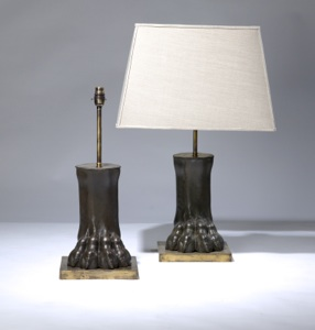 pair of medium brown bronze 'lion paw' lamps on distressed brass bases (T3158)