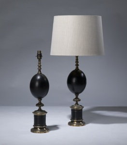 pair of medium black ostrich egg lamps on distressed brass bases (T3163)
