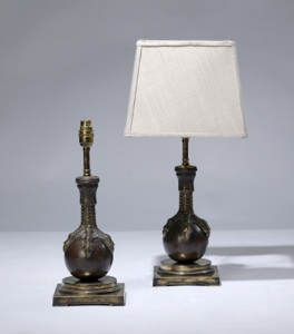 pair of small brown antique bronze 'ball & claw'  metal lamps on distressed brass bases (T3173)