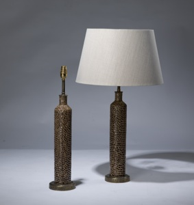 pair of small brown ceramic lamps on distressed brass bases (T3174)