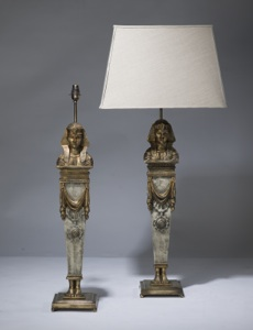 pair of large cream gold antique wooden egyptian figure lamps on distressed brass bases (T3185)