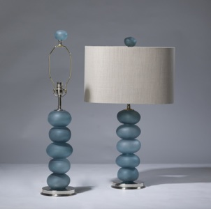 pair of medium blue glass 'frosted pebble' lamps on Nickel bases (T3217)