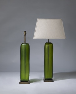 pair of medium green cut glass lamps on distressed brass bases (T3222)