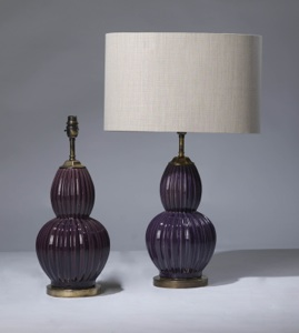 pair of medium purple ceramic lamps on distressed brass bases (T3223)