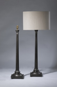 pair of large black wooden column lamps (T3224)