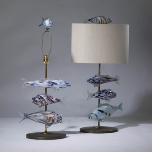 pair of medium blue murano glass fish lamps on distressed brass bases (T3232)