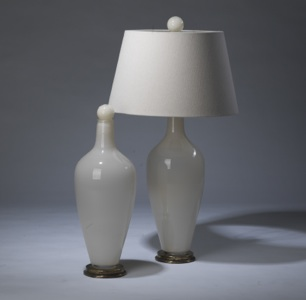 pair of medium cream 'standard' glass lamps on distressed brass bases & matching finials (T3277)