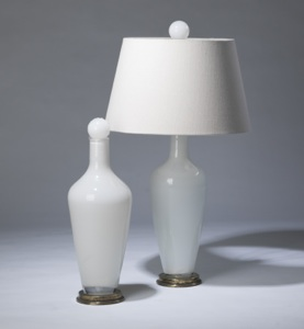 pair of medium white 'standard' glass lamps on distressed brass bases & matching finials (T3278)