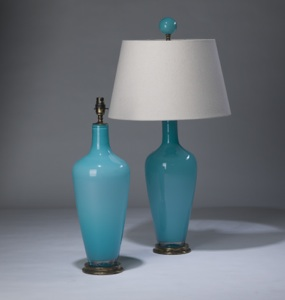 pair of medium sea blue 'standard' glass lamps on distressed brass bases & matching finials (T3291)