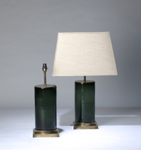 pair of medium dark green blue 'glass column' lamps on distressed brass bases (T3304)