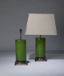 pair of medium grass green 'glass column' lamps on distressed brass bases (T3319)