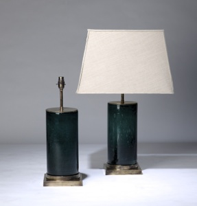 pair of medium teal green 'glass column' lamps on distressed brass bases (T3322)