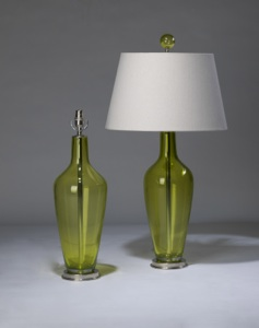 pair of medium transparent lime green 'standard' glass lamps on nickel bases & matching finials (T3323)
