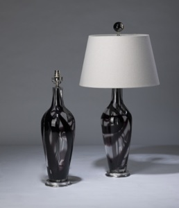 pair of medium black purple clear swirl 'standard' glass lamps on nickel bases & matching finials (T3326)