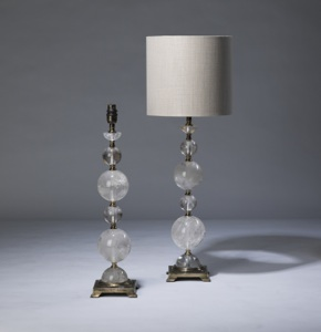 pair of medium clear rock crystal lamps on distressed brass bases (T3329)