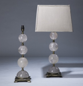 pair of medium clear rock crystal lamps on distressed brass bases (T3331)