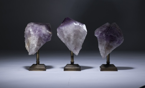amethyst chunks on distressed brass stands (T3347)