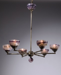 6 arm bronze chandelier with blue john Shades (T3433)